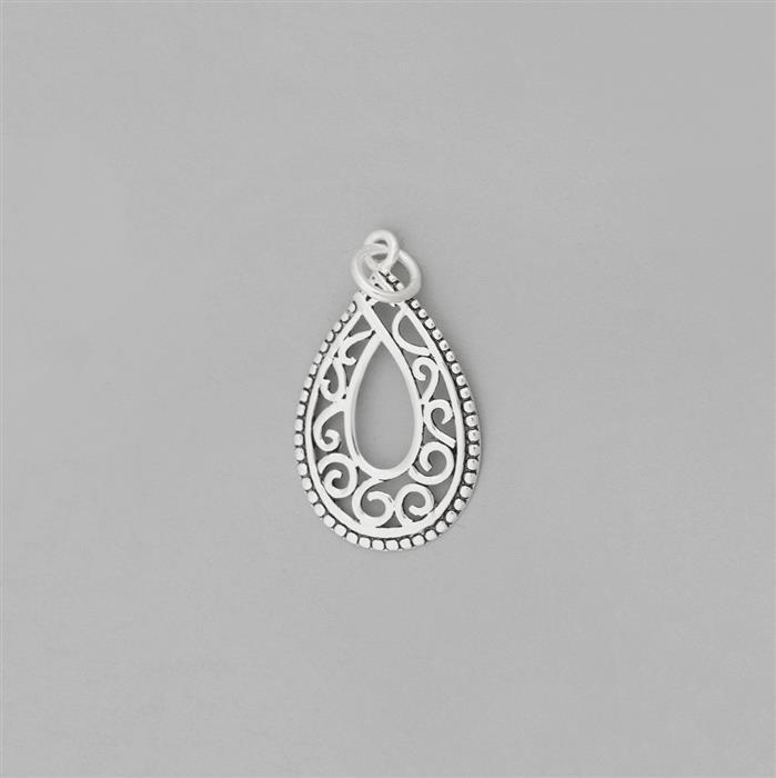 925 Sterling Silver Oxidised Filigree Teardrop Pendant Approx 27x17mm with a 6mm Bail.