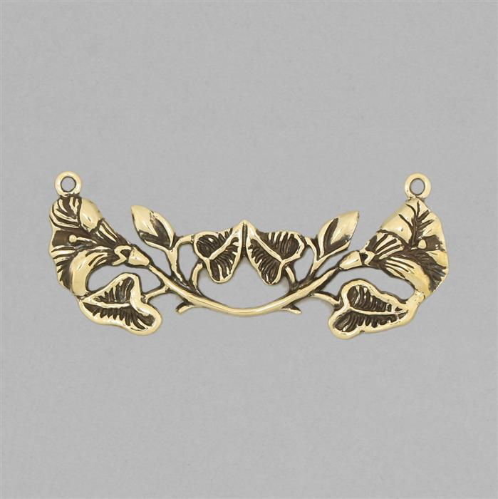 Oxidised Branch Leaf Flowers Embellishment Brass Connector Approx 58x20mm.
