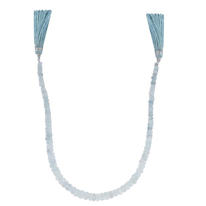 45cts Aquamarine Graduated Faceted Rondelles Approx 2x1 to 6x3mm, 22cm Strand.