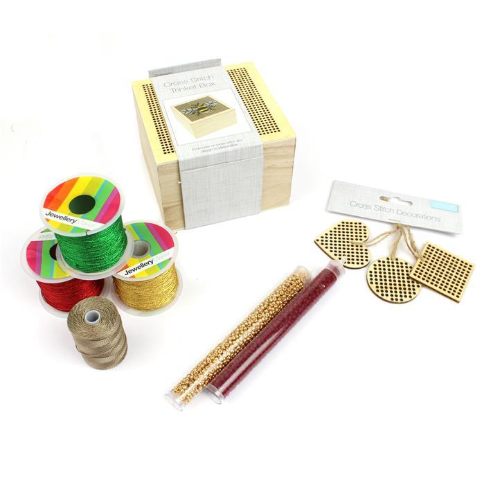 Festive; Perforated Wooden Box & Tags, 3x Sparkle Nylon Threads 0.5mm, 3x Miyuki 8/0's