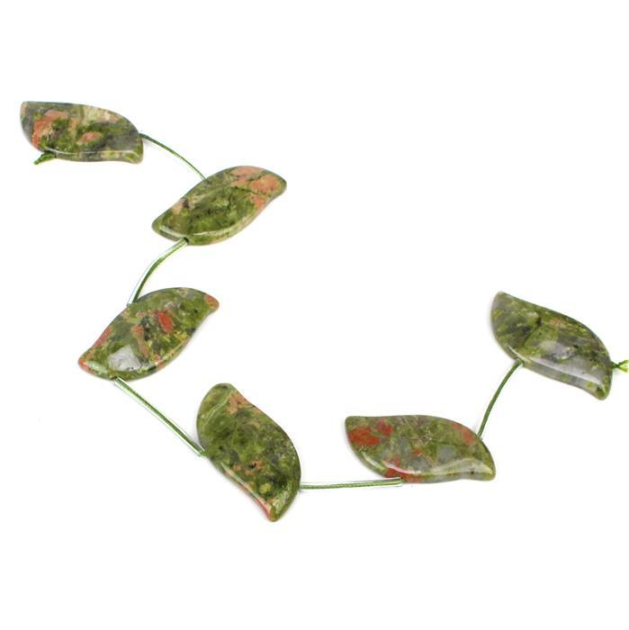 140cts Unakite Fancy Leaves 6pcs, Approx 18x35mm, 20cm
