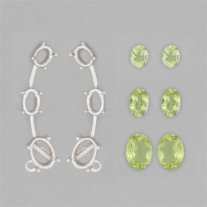 925 Sterling Silver Ear Climber Mount Fit Ovals Inc. 3.7cts Changbai Peridot Brilliant Ovals