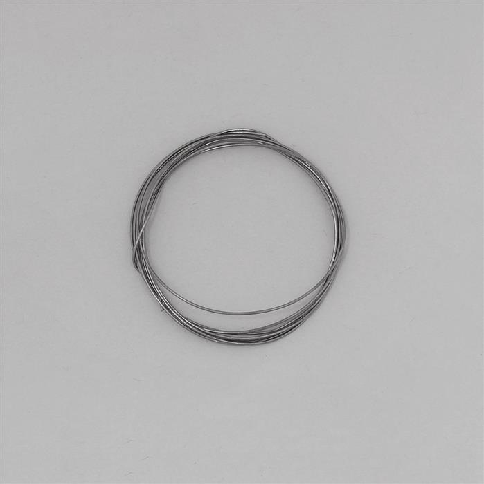 1m Black Rhodium Plated 925 Sterling Silver Round Wire Approx 0.60mm