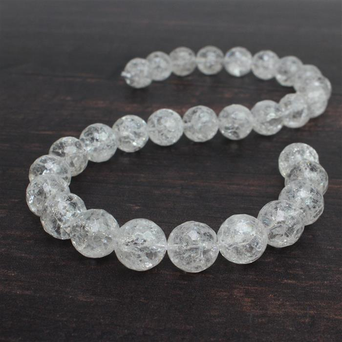 470cts Crackled Quartz Faceted Rounds Approx 14mm 38cm
