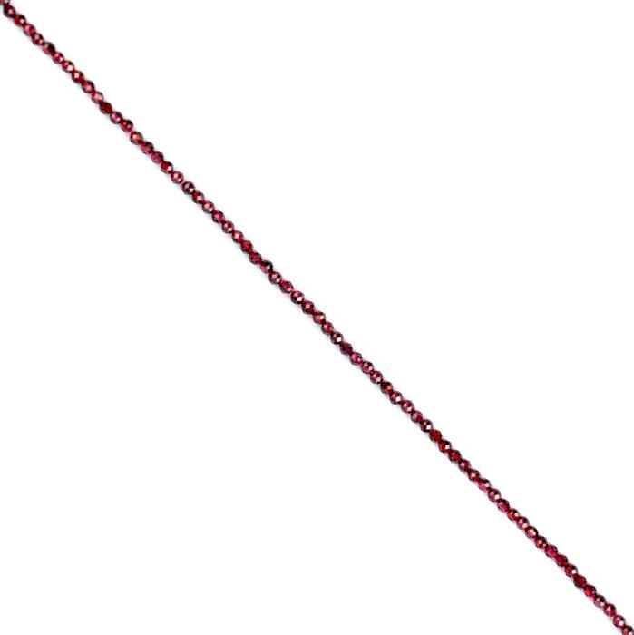 20cts Garnet Faceted Rounds Approx 3mm, 38cm strand