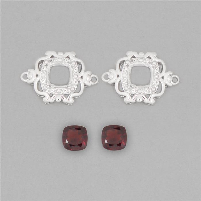 925 Sterling Silver Connector Mount Fits 6mm Cushion Inc. 2cts Garnet 6mm Cushion with 0.09cts White Topaz Approx 1mm Round (2pcs)