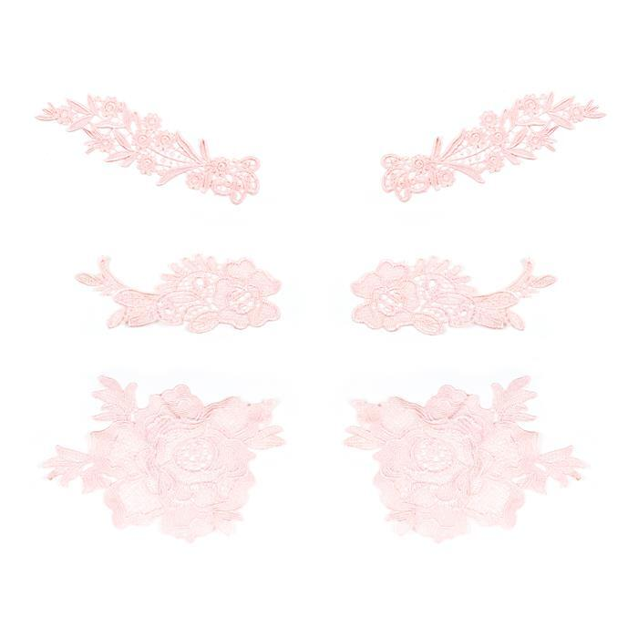 Peach Colour Lace Bundle, Set of 3 Sizes: 19x7.5cm, 19x15.3cm, 27.5x7.2cm