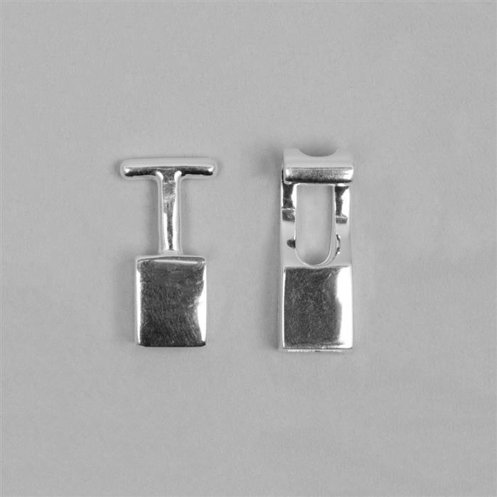 925 Sterling Silver End Clasp for 6mm Flat Cord (1 set)