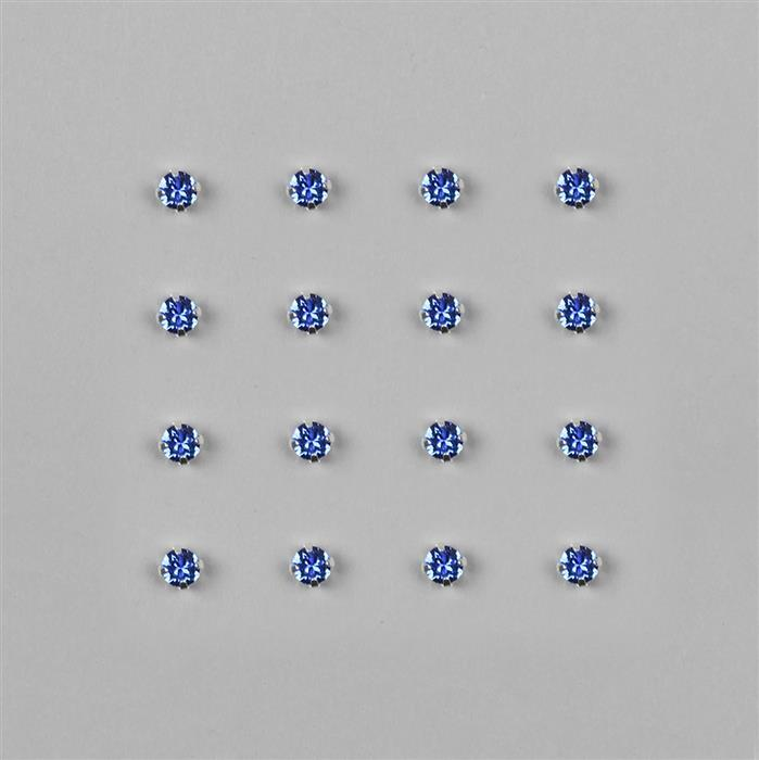 Swarovski Chaton Montees Sapphire F in Silver Brushed Mount - 4mm, 12pk