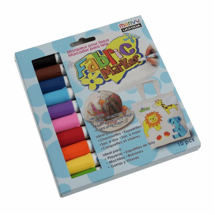 Multi Coloured Fabric Pens - Pack of 10