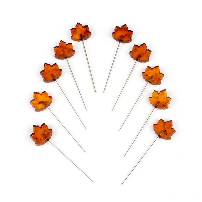 Baltic Cognac Amber Maple Leaf Approx 10x9mm, Sterling Silver Headpins 0.76mm/22Gauge, 26mm (10Pc)