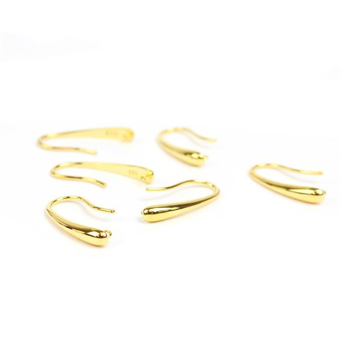 Gold Plated 925 Sterling Silver Drop Earring with Loop Approx 22x3mm (3pairs)