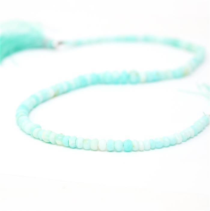 45cts Sky Blue Opal Graduated Faceted Rondelles Approx 2x1 to 6x3mm, 32cm Strand.