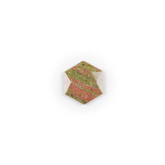 35cts Unakite Hexagon Pendant Approx 34x30mm