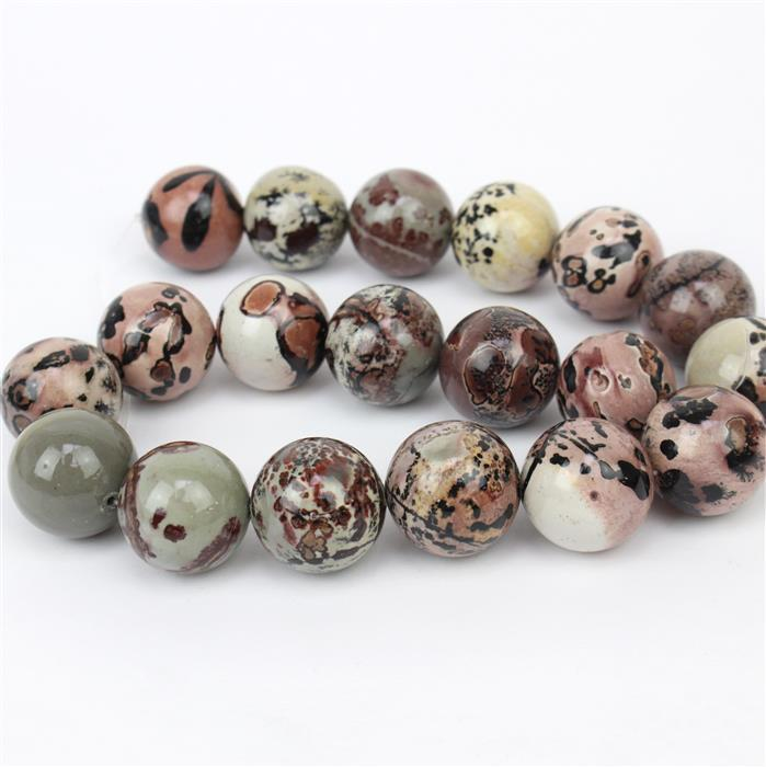 1000cts Brown & Grey Picture Jasper Plain Rounds Approx 20mm, 38cm strand
