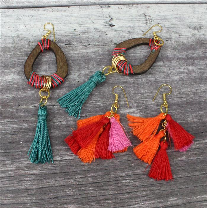 Ruby Rainbow INC Red, Orange & Pink Tassels, Brown Wooden Ovals, Gold Hollow Circles