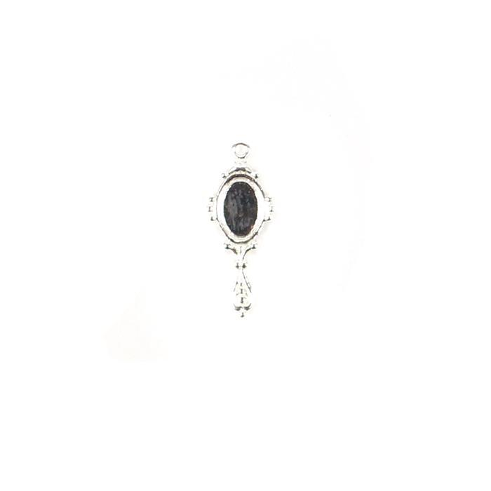 925 Sterling Silver Mirror Charm Approx 7x18mm, 1pcs