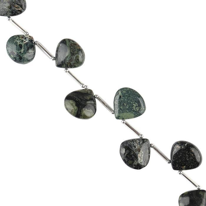 65cts Kambaba Jasper Graduated Plain Flat Drops Approx 12 to 14mm, 12cm Strand.