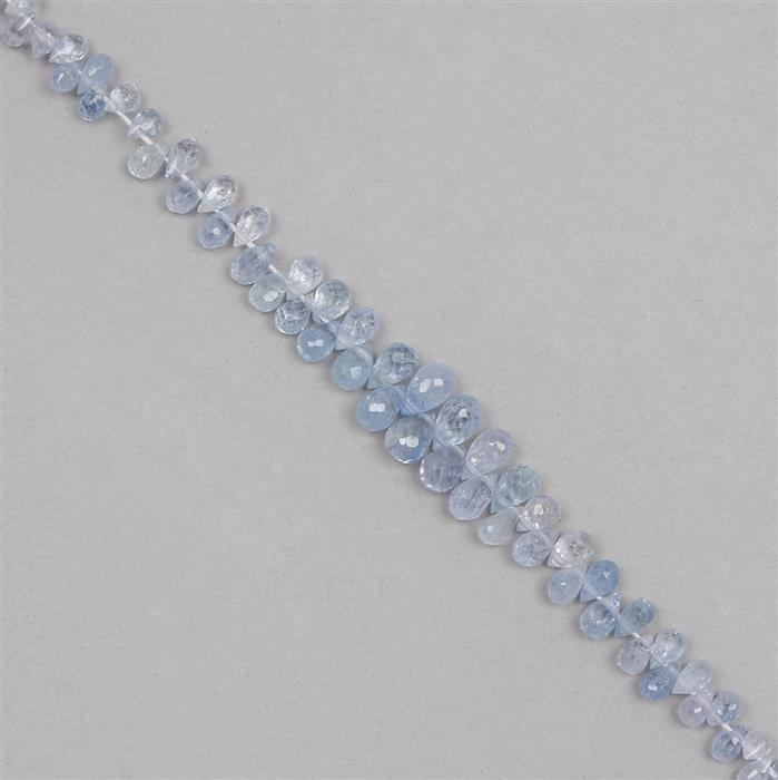18cts Blue Sapphire Graduated Faceted Drops Approx 3x1 to 5x4mm, 9cm Strand.