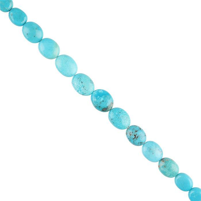 45cts Turquoise Graduated Plain Ovals Approx 6x5 to 10x8mm, 20cm Strand.