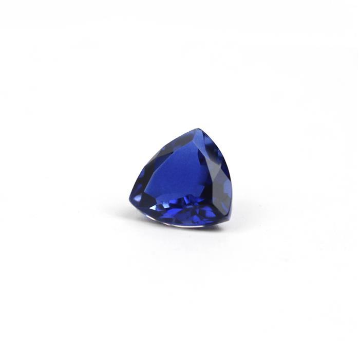 5cts Clear Quartz, Blue Sapphire Colour Triplet Brilliant Cut Trilliant 12mm.