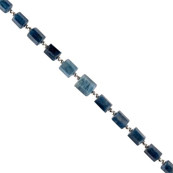 50cts Blue Sapphire Graduated Faceted Barrels Approx 4x3 to 9x6mm, 18cm Strand.