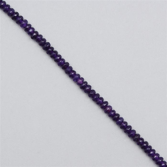 35cts Purple Colour Dyed Quartz Faceted Rondelles Approx 3x1mm, 35cm Strand.