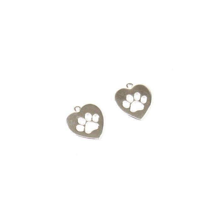 925 Sterling Silver Heart Shape Paw Cut Out Charms Approx 13x14mm (2pc)