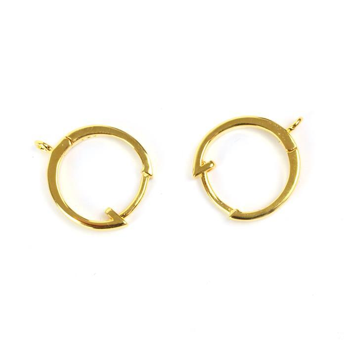 Gold Plated 925 Sterling Silver Earring Hoops Approx 13mm 1 Pair