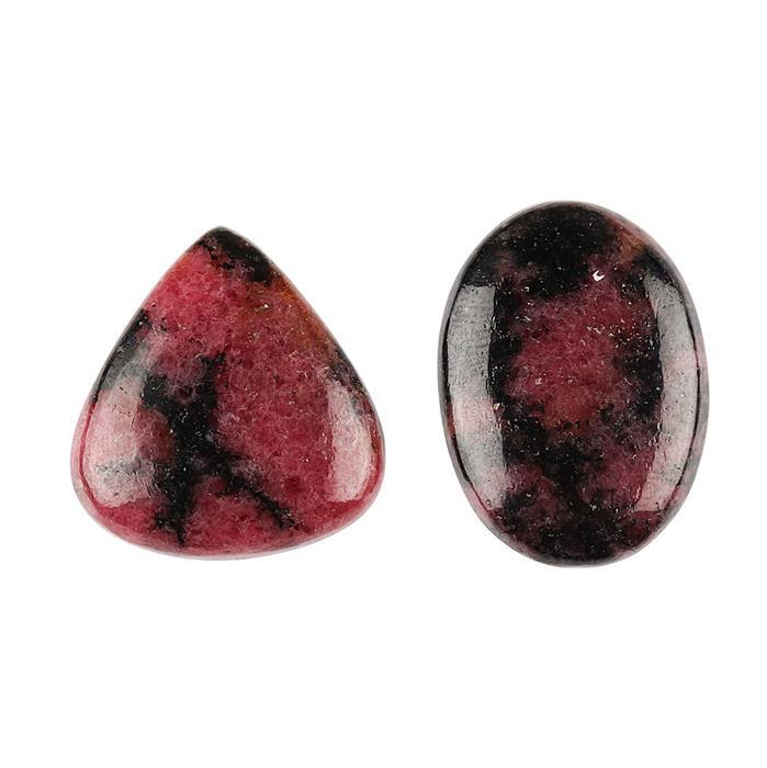 90cts Rhodonite Multi Shape Cabochons Assortment.