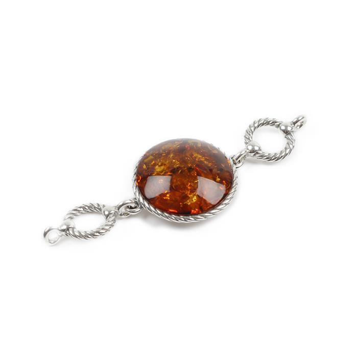 Baltic Cognac Amber Sterling Silver Round Connector Links Approx 53x18mm