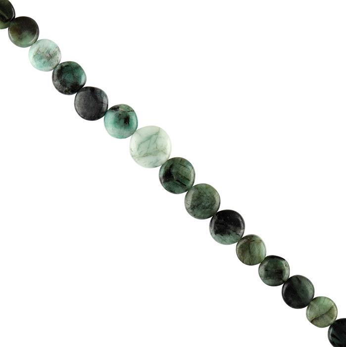 120cts Emerald Graduated Plain Coins Approx 6 to 12mm, 38cm Strand.