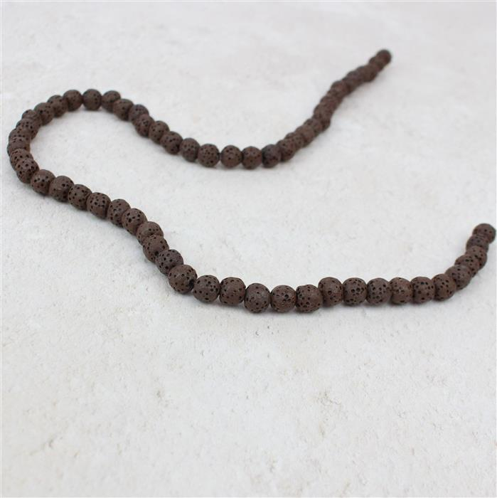 80cts Saddle Brown Lava Rock Beads Rounds Approx 7mm 38cm