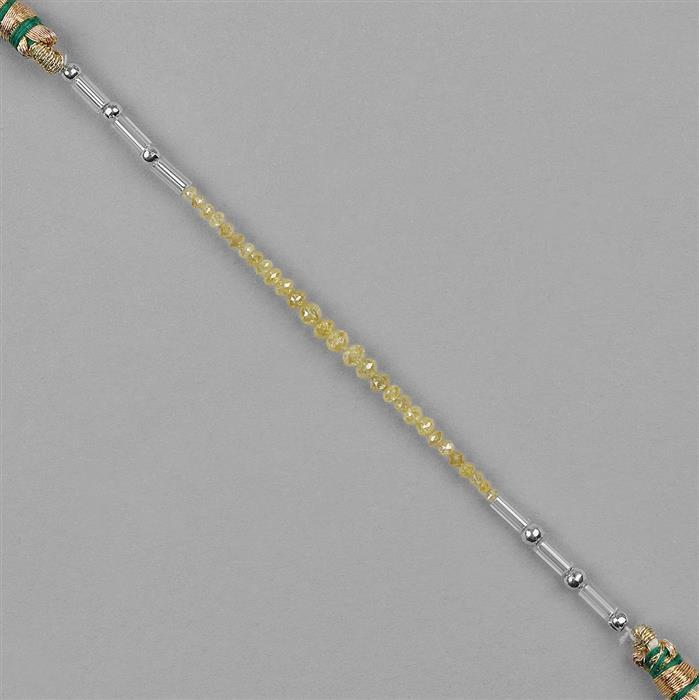 2cts Yellow Diamond Graduated Faceted Rondelles Approx 2x1 to 3x2mm, 4cm Strand.