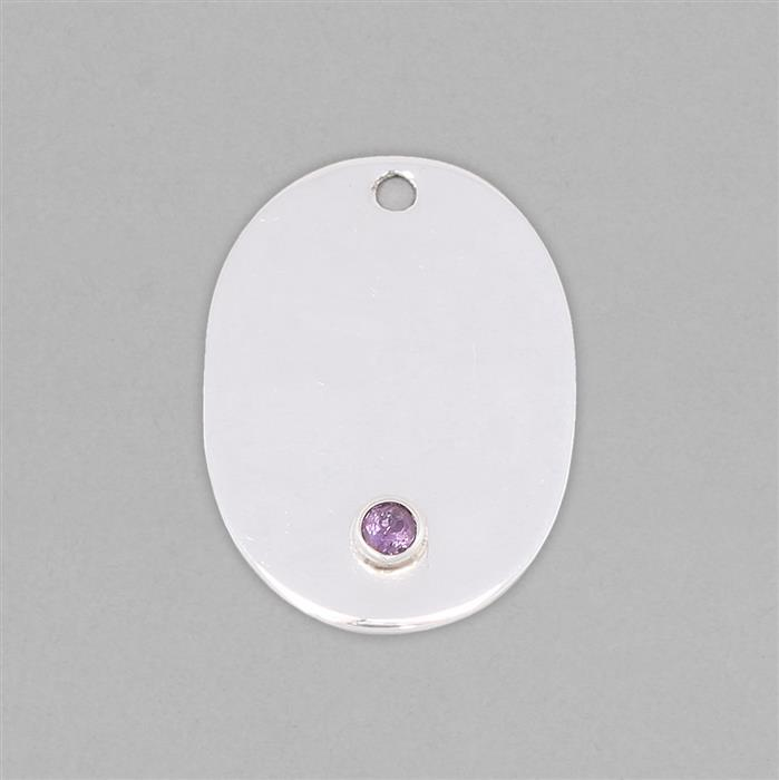 925 Sterling Silver Oval Shape Statement Blank - 26x20mm Inc. 0.10cts Amethyst Faceted Round 3mm