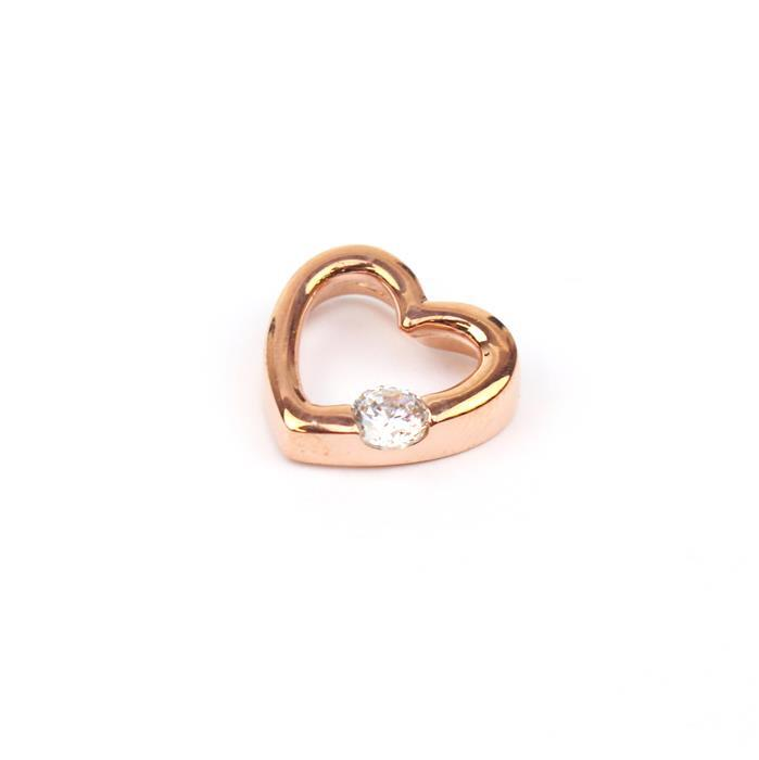 Rose Gold Plated 925 Sterling Silver CZ Floating Heart Pendant Approx 13mm