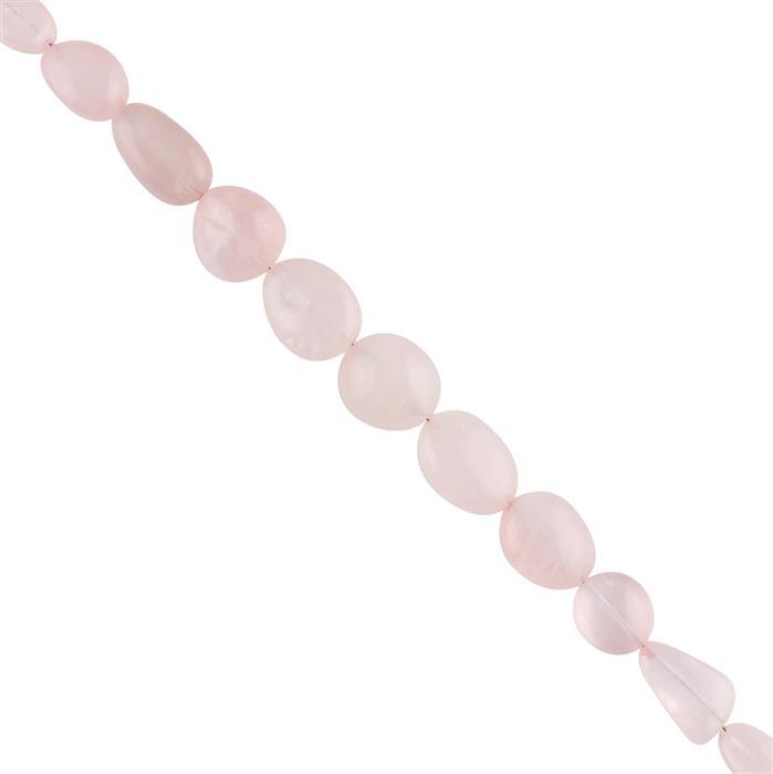 125cts Rose Quartz Graduated Plain Tumbles Approx 8x7 to 16x12mm, 18cm Strand.