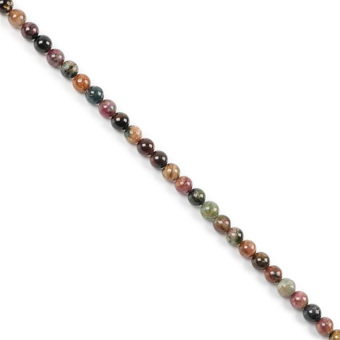 80cts Multi-Colour Tourmaline Plain Rounds Approx 6mm 38cm strand