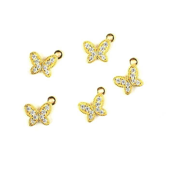 925 Sterling Silver Gold Plated Butterfly Charms with Cubic Zirconia Approx 6x7mm 5pk