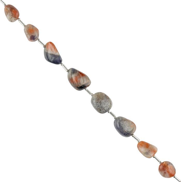 100cts Iolite Sunstone Graduated Plain Tumbles Approx 10x9 to 19x13mm, 14cm Strand.