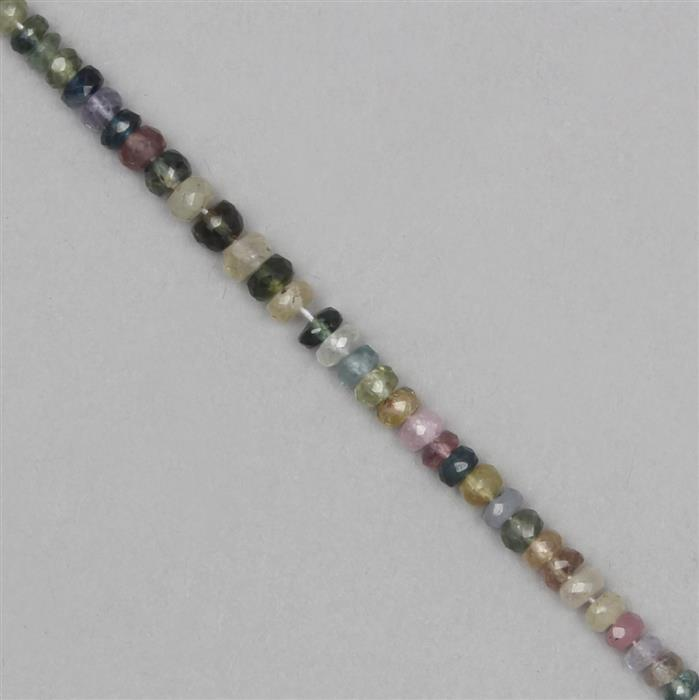 52cts Multi-Colour Sapphire Graduated Faceted Rondelles Approx 2x1 to 4x2mm, 38cm Strand.
