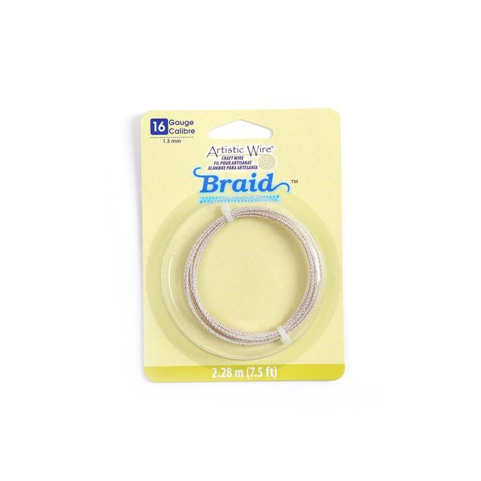 Artistic Wire Tarnish Resistant Silver Plated Round Braid Wire, 16 Gauge/1.3mm, 7.5ft/2.29m