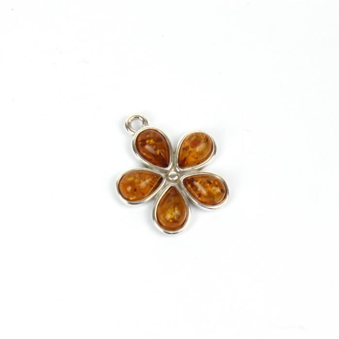 Baltic Cognac Amber Drop Cabochon 925 Silver Flower Charm Approx 17x16mm
