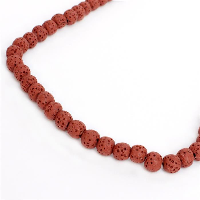 80cts Red Lava Rock Beads Rounds Approx 7mm 38cm