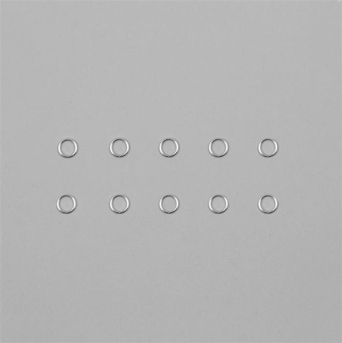 9ct White Gold Open Jump Ring 0.80mm Gauge 5.00mm (10pcs)