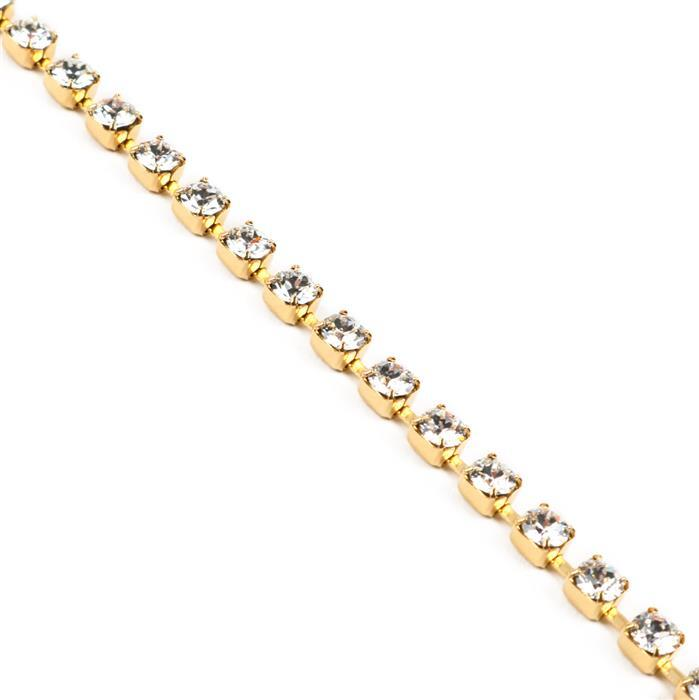 Swarovski Cupchain 27104 PP32 Crystal with Gold Casing - Pack of 50cm