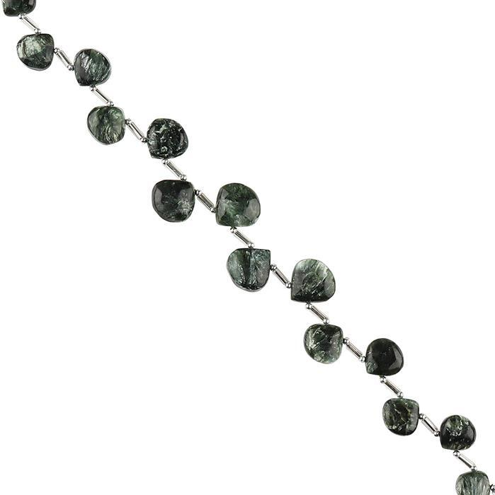 68cts Seraphinite Graduated Plain Flat Pears Approx 7 to 12mm, 22cm Strand.
