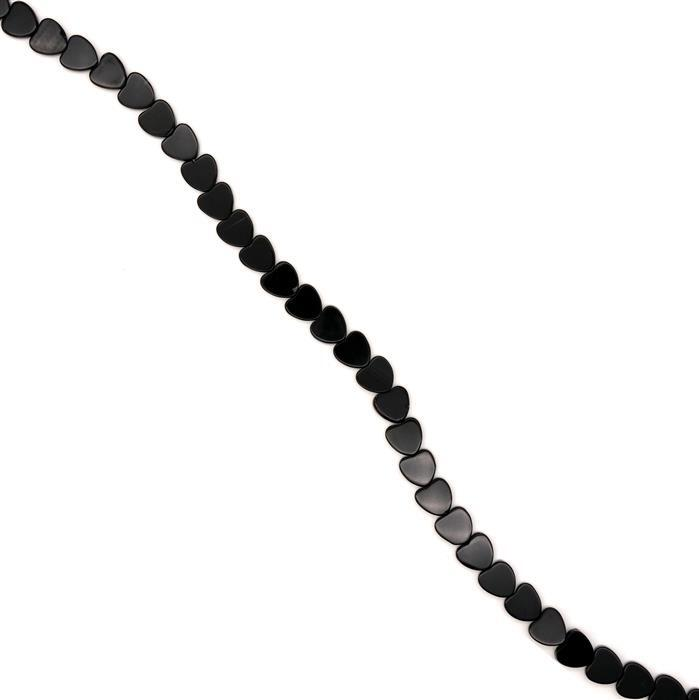 110cts Black Agate Flat Hearts, Approx 10mm, 38cm strand