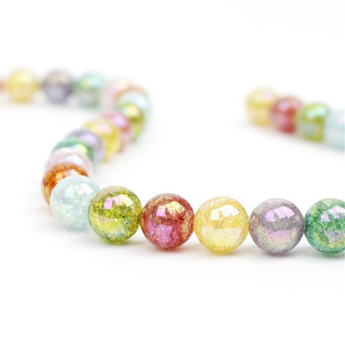270cts Rainbow Coated Crackled Multi-Colour Quartz Plain Rounds Approx 10mm,Approx 38cm strand