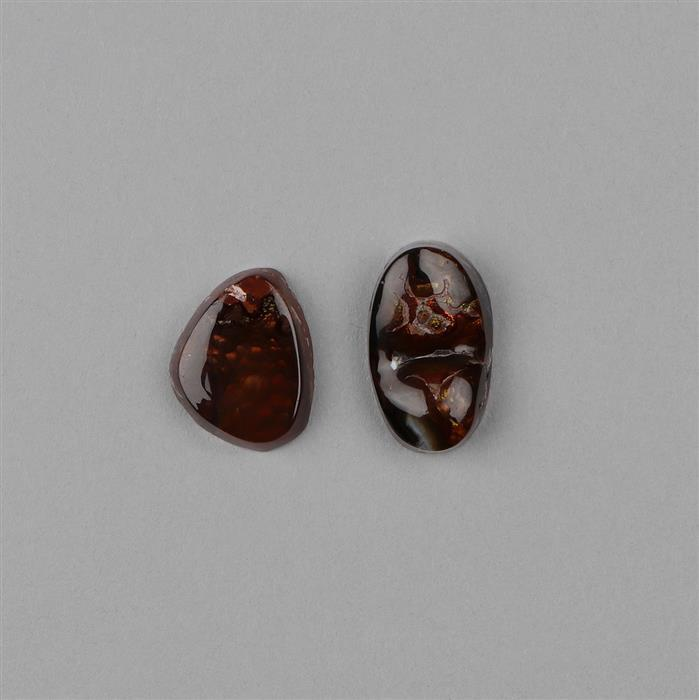 20cts Fire Agate Fancy Shape Cabochons. (2pcs)